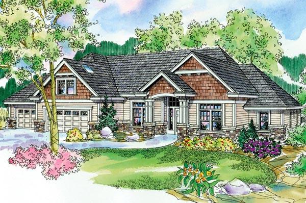 Cottage, Craftsman, European, Ranch House Plan 59721 with 3 Beds, 4 Baths, 3 Car Garage Elevation