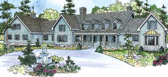 Colonial, Country, Farmhouse, Florida House Plan 59729 with 4 Beds, 5 Baths, 5 Car Garage Elevation