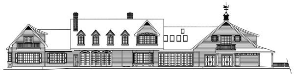 Colonial, Country, Farmhouse, Florida House Plan 59729 with 4 Beds, 5 Baths, 5 Car Garage Rear Elevation