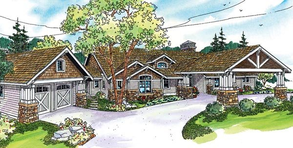 Bungalow Cottage Country Craftsman Ranch House Plan 59732 Elevation