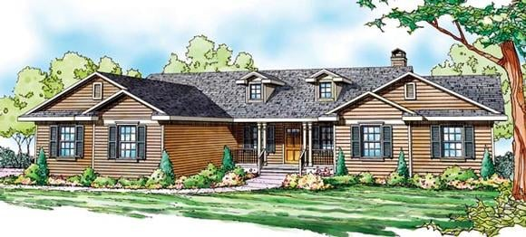 Cottage, Country, Florida, Ranch House Plan 59749 with 4 Beds, 3 Baths, 2 Car Garage Elevation