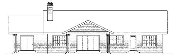 Cottage, Country, Florida, Ranch House Plan 59749 with 4 Beds, 3 Baths, 2 Car Garage Rear Elevation