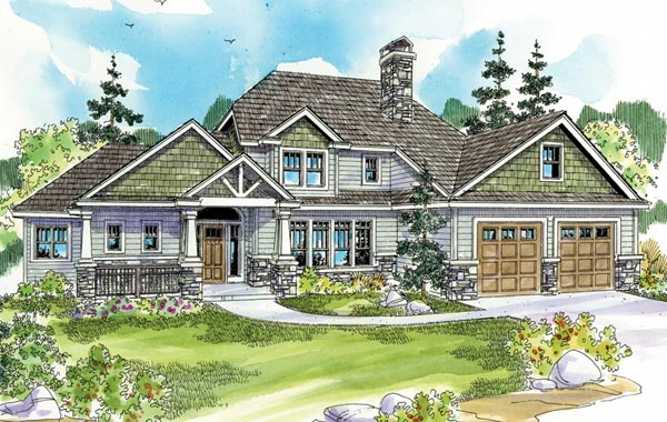 Cottage Craftsman European House Plan 59786 Elevation