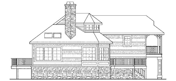 Cape Cod Cottage Country European Victorian House Plan 59792 Rear Elevation