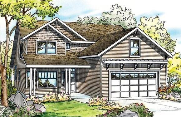 Cape Cod, Cottage, Country, Craftsman House Plan 59794 with 3 Beds, 3 Baths, 2 Car Garage Elevation