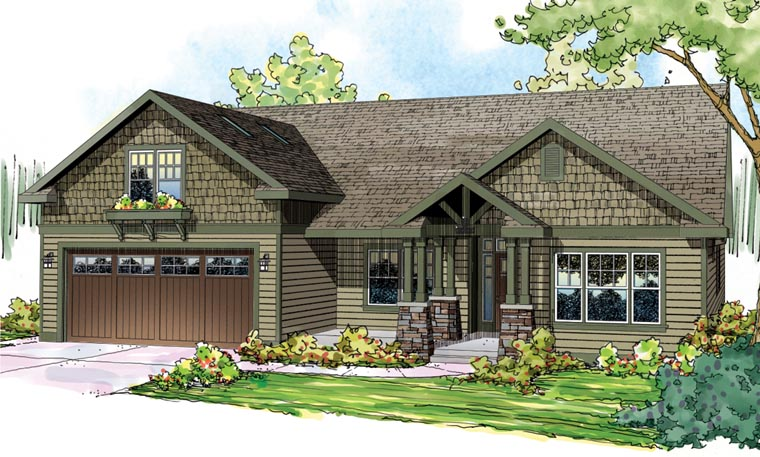 Bungalow craftsman european ranch house plan 59797 for Craftsman style ranch house