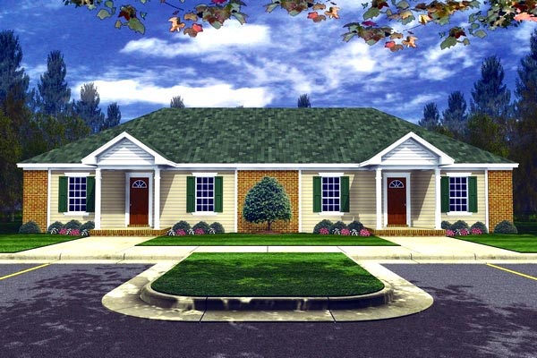 Country, Ranch, Southern Multi-Family Plan 59926 with 6 Beds, 4 Baths Elevation