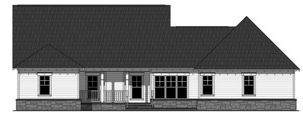 Cottage Country Craftsman Southern House Plan 59928 Rear Elevation