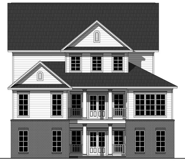 Country Farmhouse Traditional House Plan 59929 Rear Elevation