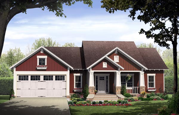 Cottage Country Craftsman House Plan 59933 Elevation