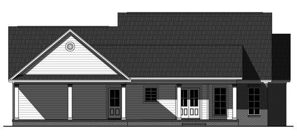 Country Farmhouse Traditional House Plan 59938 Rear Elevation
