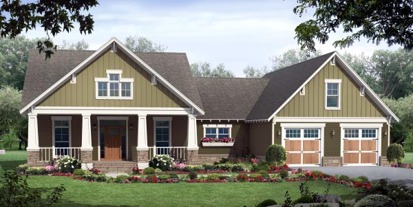 Country Craftsman Ranch House Plan 59943 Elevation