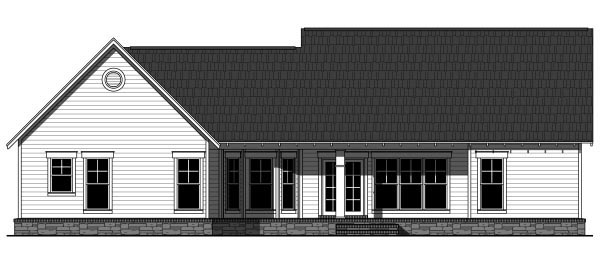 Country Craftsman Ranch House Plan 59943 Rear Elevation