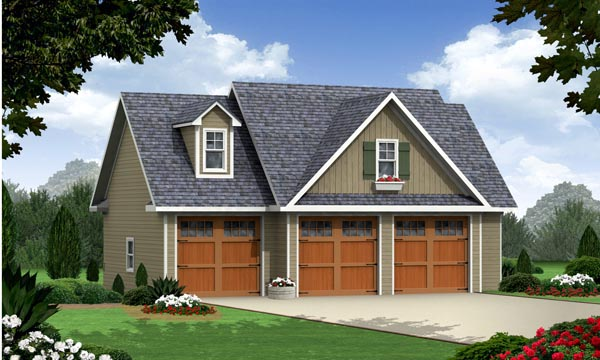 Cottage, Craftsman, Traditional 3 Car Garage Apartment Plan 59948 with 1 Beds, 1 Baths Elevation