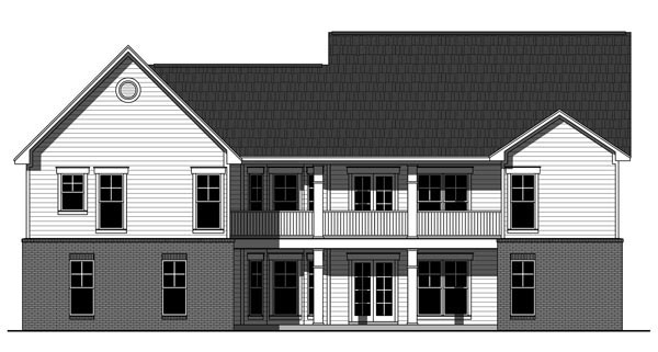 Country Craftsman Traditional House Plan 59951 Rear Elevation