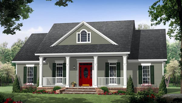 House plan 59952 at for Small craftsman house plans with garage