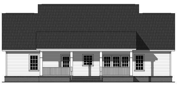 Colonial Country Traditional Rear Elevation of Plan 59952