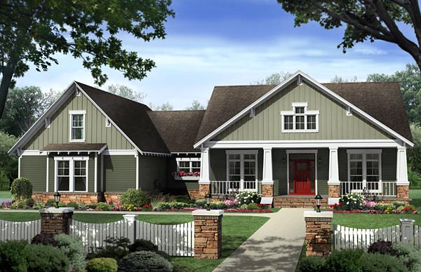 Cottage Country Craftsman House Plan 59954 Elevation