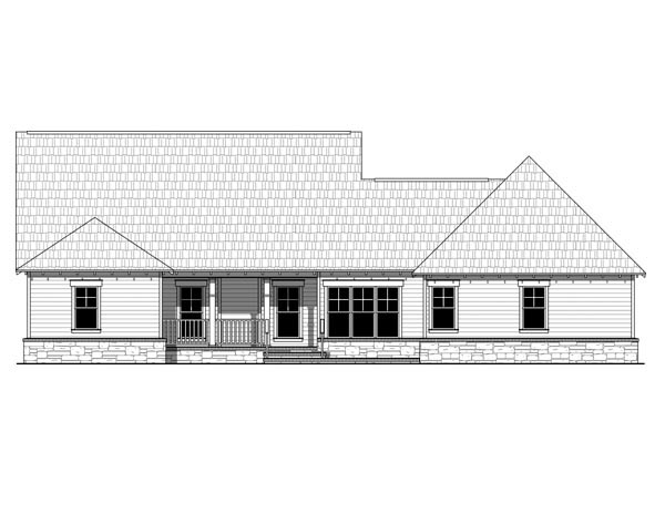 Cottage Country Craftsman House Plan 59954 Rear Elevation