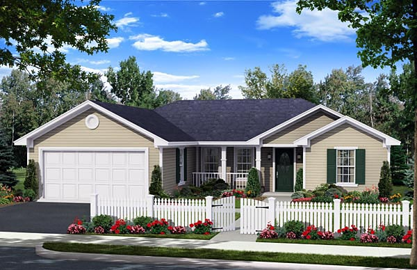 Country Ranch Traditional House Plan 59957 Elevation