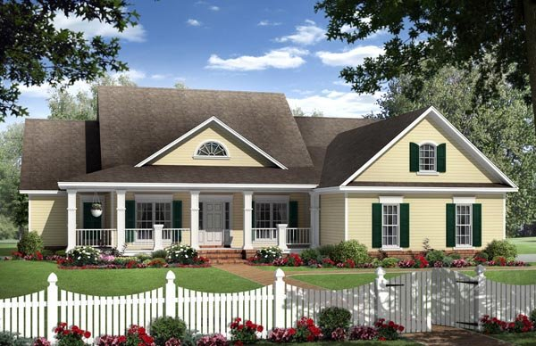 Country Ranch Traditional House Plan 59962 Elevation