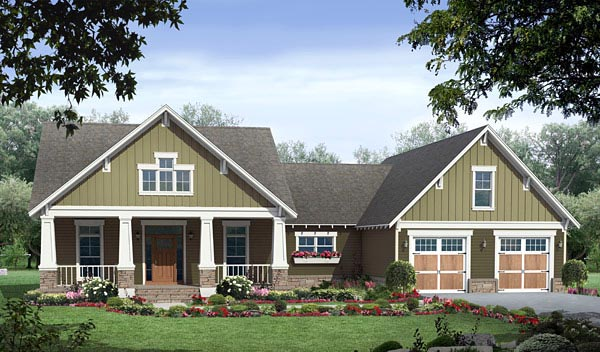 Cottage Country Craftsman House Plan 59970 Elevation