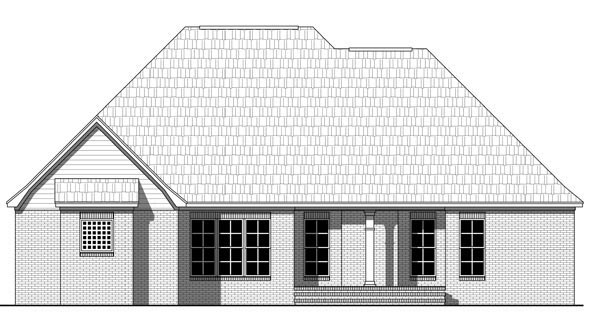 Colonial European Traditional House Plan 59971 Rear Elevation