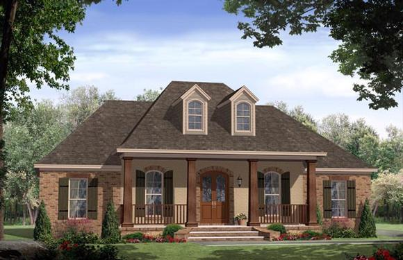 Acadian, Country, European, French Country, Traditional House Plan 59972 with 3 Beds, 2 Baths, 2 Car Garage Elevation