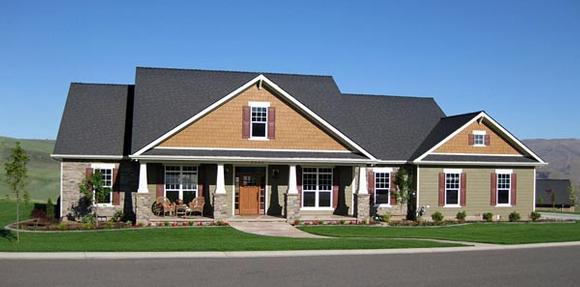 Cottage, Country, Craftsman, French Country House Plan 59978 with 4 Beds, 4 Baths, 3 Car Garage Elevation