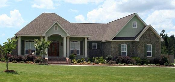 Country, European, Traditional House Plan 59982 with 3 Beds, 3 Baths, 2 Car Garage Elevation