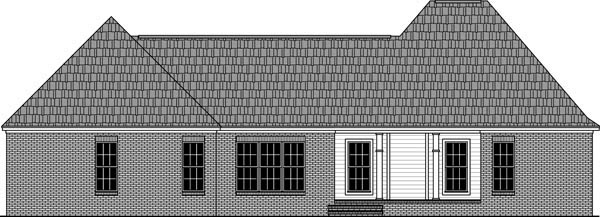 Country, European, Traditional House Plan 59982 with 3 Beds, 3 Baths, 2 Car Garage Rear Elevation