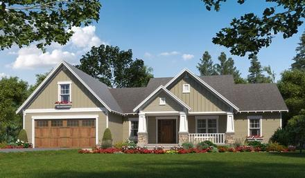 Cottage, Craftsman, Traditional House Plan 59989 with 3 Beds, 3 Baths, 2 Car Garage