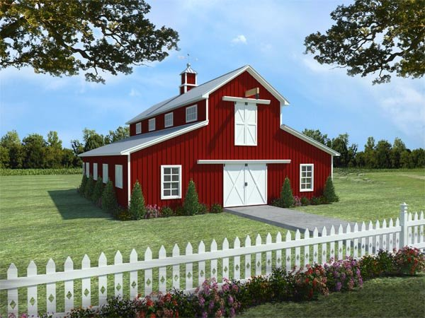 4 Car Garage Apartment Plan 59991 with 1 Beds, 1 Baths Elevation