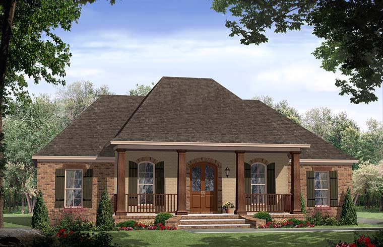 Cottage Country European French Country Ranch Southern House Plan 59994 Elevation