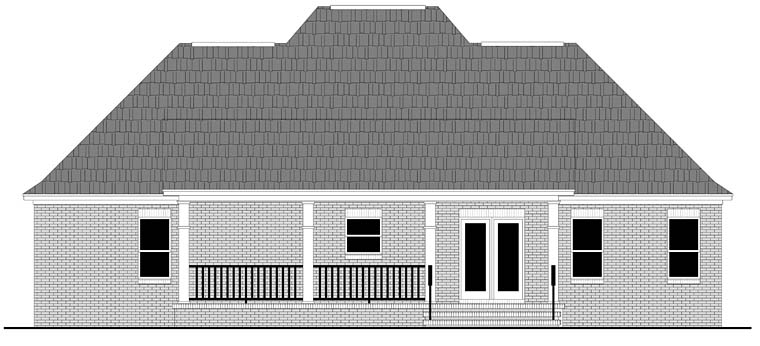 Acadian Cottage Country European French Country Ranch Southern Rear Elevation of Plan 59994