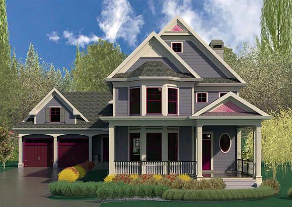 Country, Craftsman, Southern, Victorian House Plan 60007 with 4 Beds, 5 Baths, 2 Car Garage Elevation
