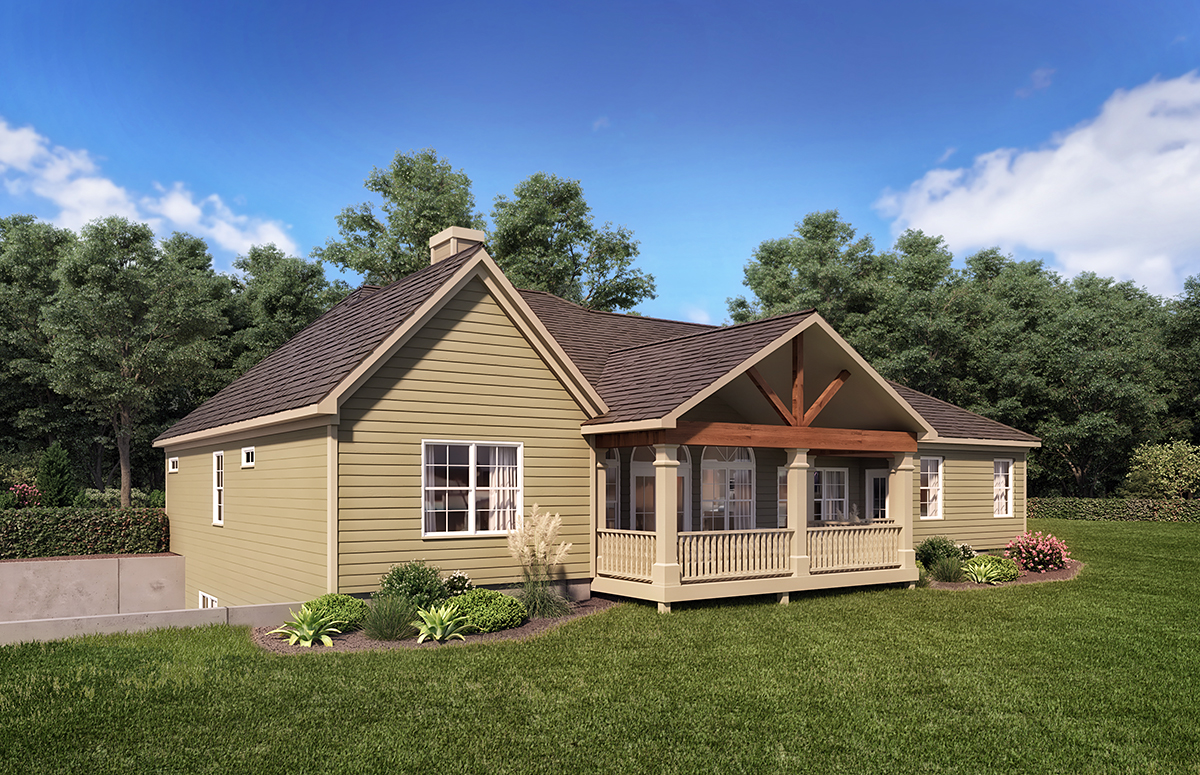 Cottage, Country, Craftsman House Plan 60028 with 4 Beds, 4 Baths, 3 Car Garage Rear Elevation