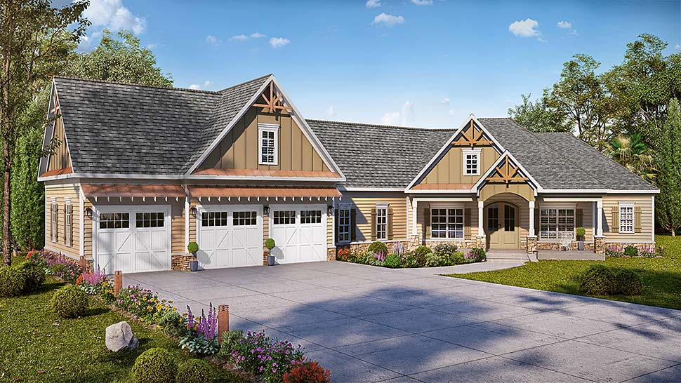 Country, Craftsman, Traditional House Plan 60054 with 4 Beds, 4 Baths, 3 Car Garage Elevation
