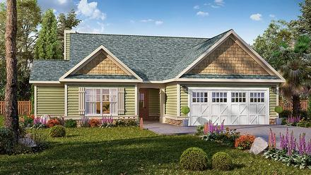 Craftsman, Ranch, Traditional House Plan 60060 with 3 Beds, 3 Baths, 2 Car Garage