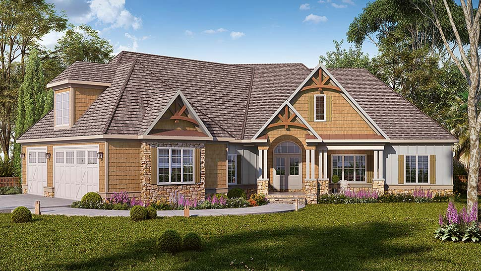 Cottage, Country, Craftsman, Traditional House Plan 60062 with 4 Beds, 4 Baths, 3 Car Garage Elevation