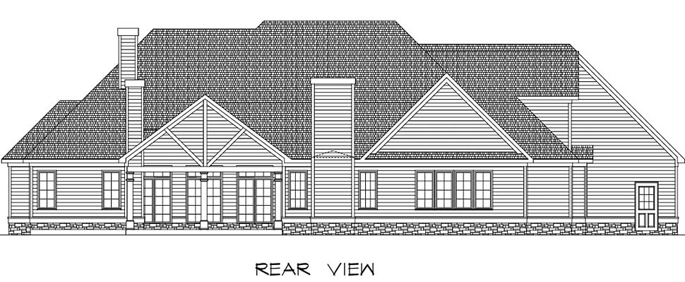 Country, Craftsman, Traditional House Plan 60063 with 4 Beds, 4 Baths, 3 Car Garage Rear Elevation