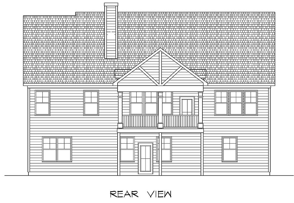 Craftsman, Traditional House Plan 60068 with 3 Beds, 3 Baths, 2 Car Garage Rear Elevation