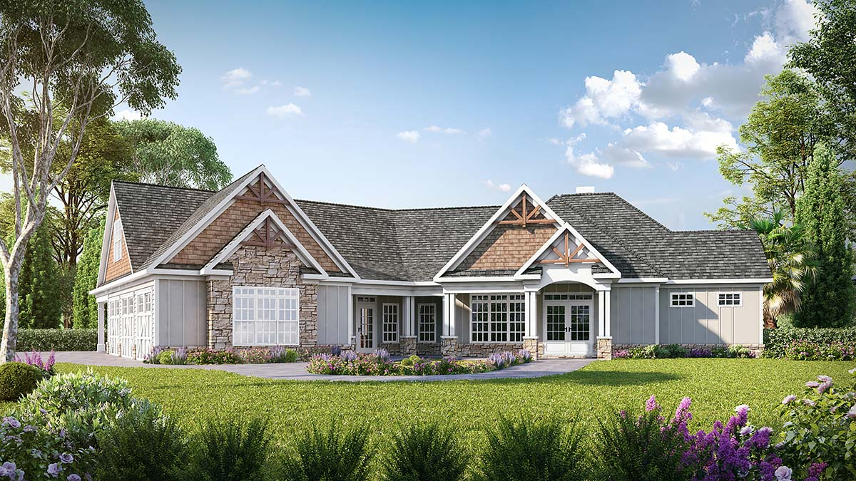 Craftsman House Plan 60077 with 4 Beds, 4 Baths, 3 Car Garage Elevation