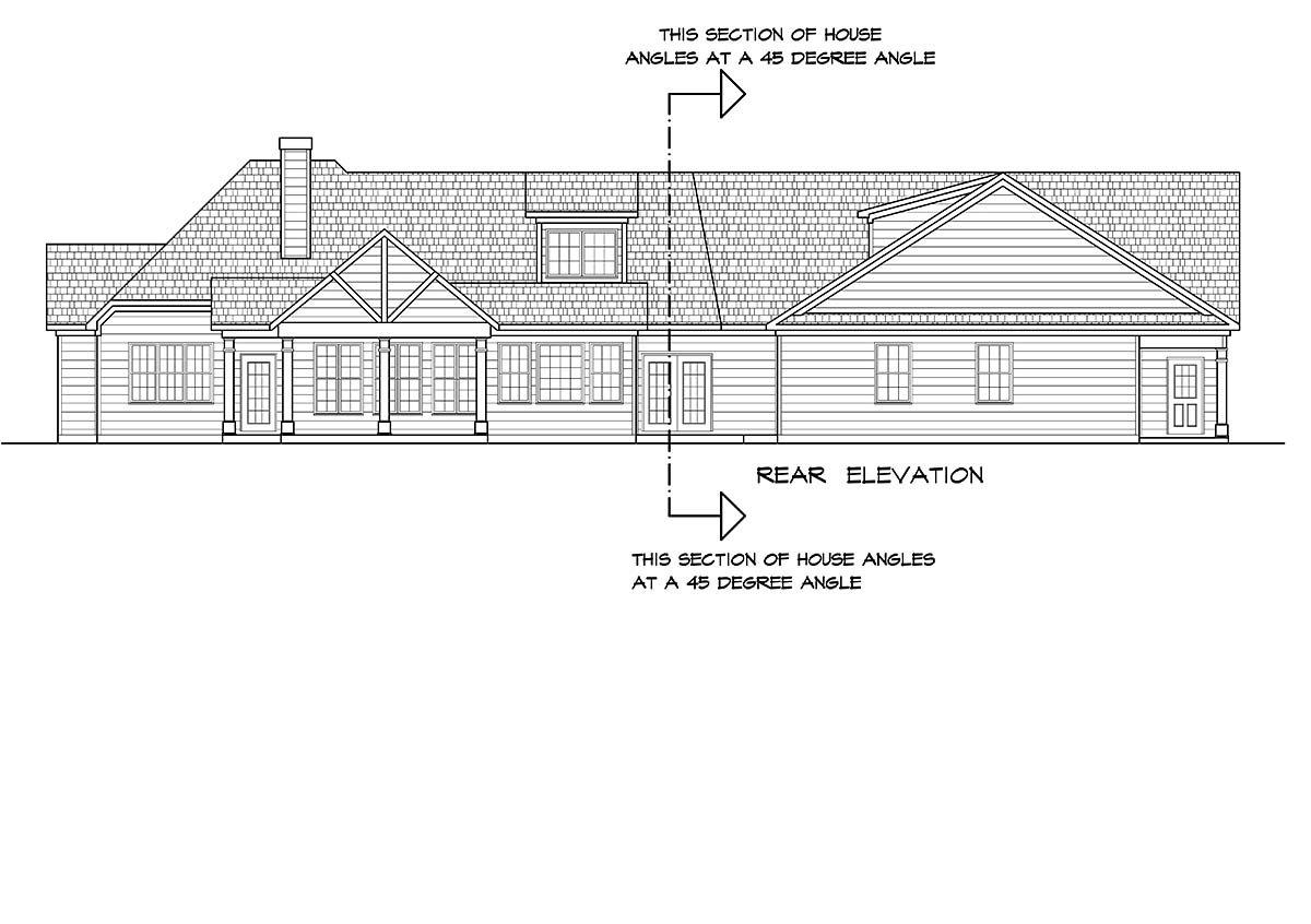 Craftsman Rear Elevation of Plan 60077
