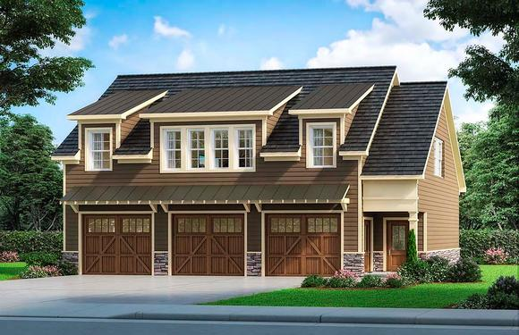 Craftsman, Traditional 3 Car Garage Apartment Plan 60089 with 2 Beds, 3 Baths Elevation