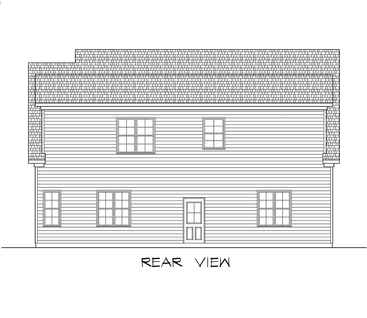 Craftsman, Traditional 3 Car Garage Apartment Plan 60089 with 2 Beds, 3 Baths Rear Elevation