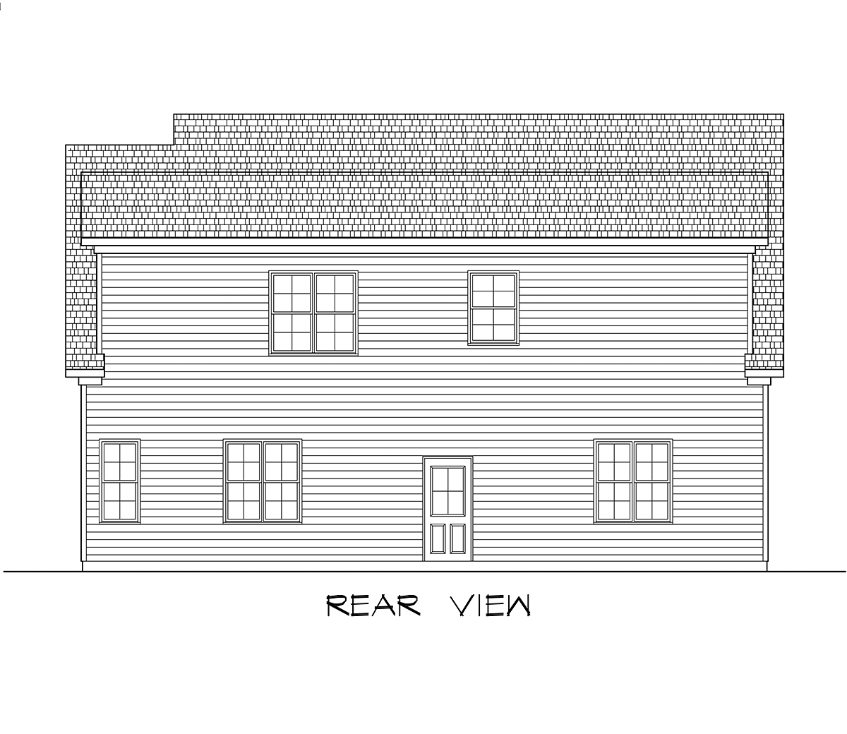 Craftsman Traditional Rear Elevation of Plan 60089