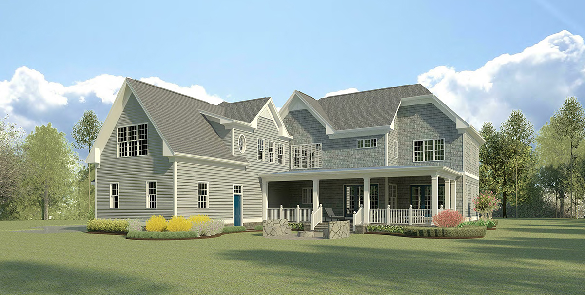 Cape Cod French Country Traditional Rear Elevation of Plan 60090