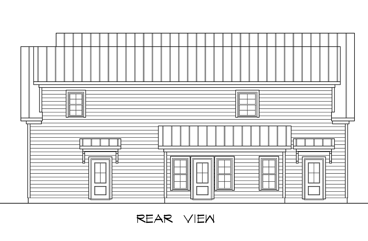 Country Traditional Rear Elevation of Plan 60094