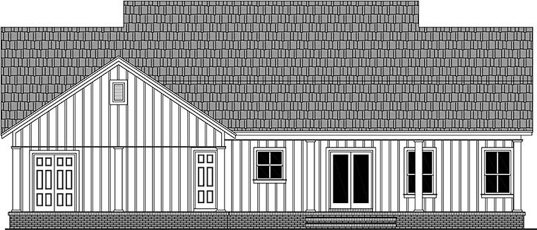 Country, Farmhouse, Southern House Plan 60102 with 3 Beds, 2 Baths Rear Elevation